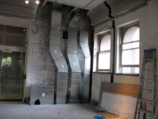 New duct work goes through the Secrets of the Silk Road gallery to third floor gallery above, where Iraq's Ancient Past is temporarily off view.