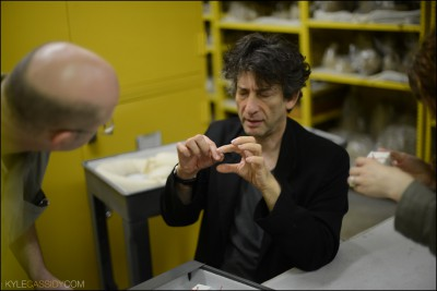 Neil and Brad discuss cylinder seals and ancient writing. Photo by Kyle Cassidy.