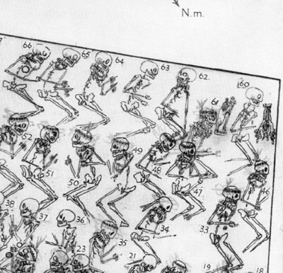 A portion of the published drawing of bodies in PG1237. Body 61 is in the upper right. (from Woolley, C. Leonard. Ur Excavations vol. 2, The Royal Cemetery. 1934: Plate 71)
