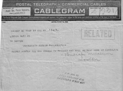 In this telegram, the news of Hunter's mysterious illness is broken.