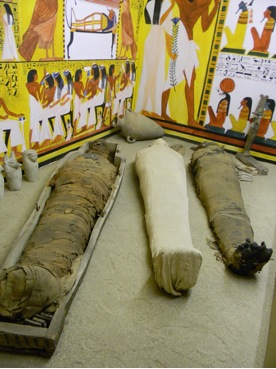 The mummy in question is the one in the center on the floor in the reconstructed tomb case.