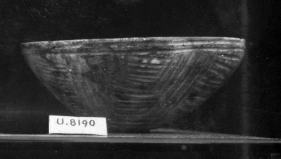 Field Photograph of U.8190, stone bowl with incised geometric designs.