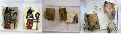 "Sample fragments of aged and unaged cartonnage, papyrus and linen ""mummy wrappings"""
