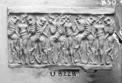 Roll-out in plaster of cylinder seal U.8228, which likely hung from the silver pin B16730.