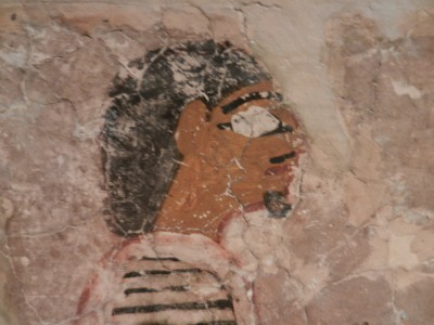 Figure with possible mustache and beard (could be decorative in nature) from an Egyptian tomb painting approximately 2500 BC.