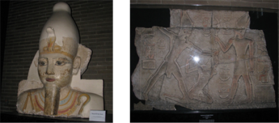 The colossal head of Ramses as Osiris (69-29-1) and Ramses smiting an Asiatic enemy (E3967)