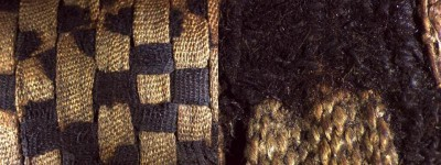Magnified image of the linen wrappings of an animal mummy (7.5X magnification on left, 25X magnification on right). Note how the dyed linen is much more deteriorated than the undyed fabric.