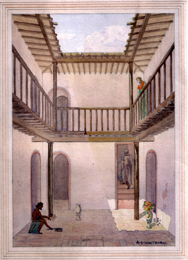 Watercolor reconstruction of 'typical' house at Ur, No. 3 Gay Street, by A.S. Whitburn, ca. 1930.