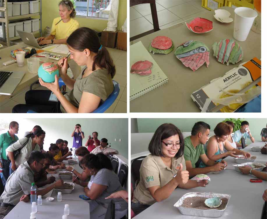 Top right: Tessa de Alarcon prepares props for the 'excavation.  Top left: some of our fake Maya artifacts.  Bottom right: the excavation begins.  Bottom left: participant signaling her satisfaction with two successfully lifted fragile artifacts