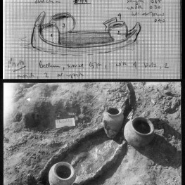 Part of the original field card and field photo of PG 627, which had a well-preserved bitumen boat.