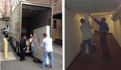Pieces of cabinet being unloaded from truck (left) and fitting - barely - through route to storage (right)