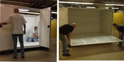 Delta Design installers making the cabinet ready to receive its precious contents