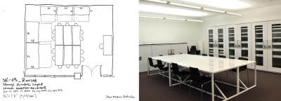 Left, the plan for the collections study room; right, how it turned out.