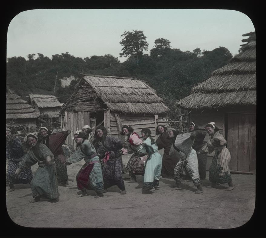 Ainu young women dancing.  Hokkaido, Japan, 1901.  Photograph by Hiram M. Hiller.  Penn Museum image 216442