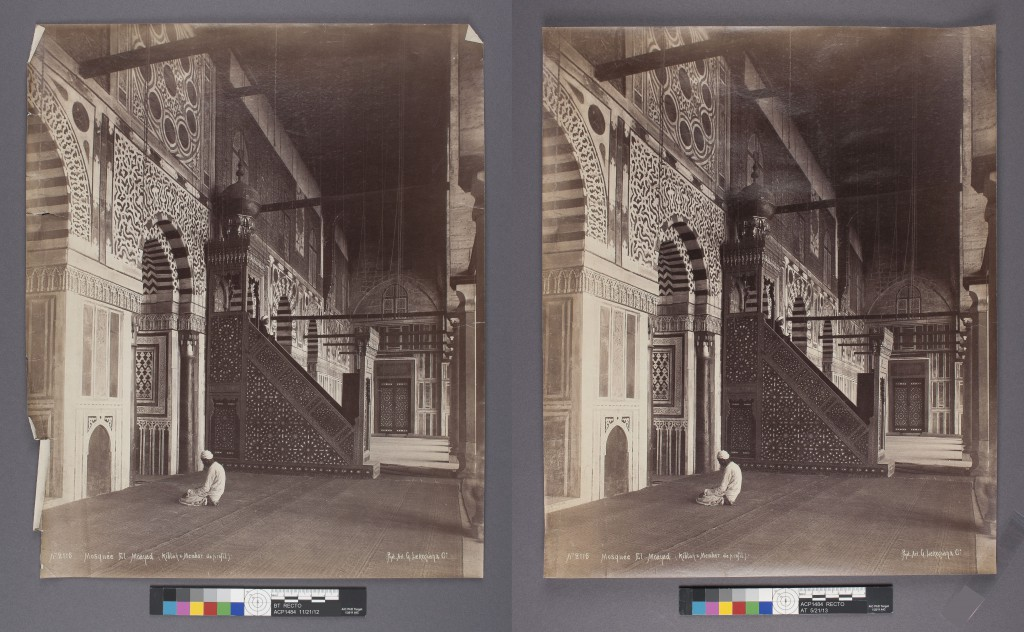 "G. Lekegian & Co., Mosquee El-Moayad, Cairo (1887-1900); albumen print; 16"" x 13.5."" Before (L) and after (R) treatment."