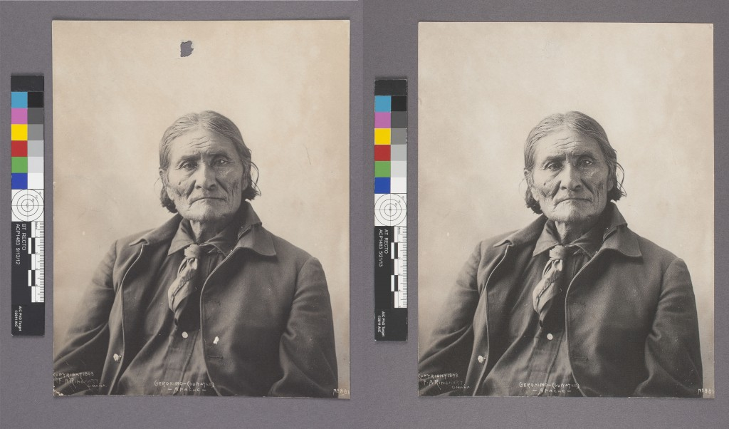 "Frank Rinehart, Geronimo (1898); platinum print; 9"" x 7."" Before (L) and after (R) treatment."
