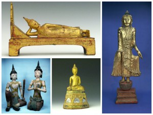 "Clockwise from top left: 2005-10-25, Buddha Parinirvana figurine, Thailand / 2005-10-17B, Standing Buddha statue, Burma / 2005-10-15, Seated Buddha, Thailand / 2005-10-13, Statue of female attendant, Burma/Northern Thailand / 2005-10-14, Statue of male attendant, Burma/Northern Thailand.  Gift of Doris Duke's Southeast Asian Art Collection. Thirty-seven Southeast Asian objects, originally part of the ""Thai Village Project"" collection, were assembled by Doris Duke, heiress to the American Tobacco Company, around 1960. She amassed a large Southeast Asian decorative art collection with the aim of recreating a Thai village that would be on public display in the United States. Although this never came to pass, following her death in 1993, The Doris Duke Charitable Foundation donated most of her museum-quality collection to several museums including the Penn Museum."