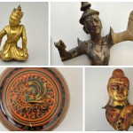 Clockwise from top left: 2011-14-3A, Sculpture of Monk, Burma / 2011-14-1, Sculpture of Temple Dancer, Thailand / 2011-14-6, Bust of Buddha, Burma / 2011-14-13, Lacquered bowl, Burma. These objects are from a 2011 gift from Kathryn Smith Pyle. Pyle's