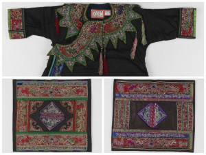 Clockwise from top: 97-12-5, Child's ceremonial jacket (Tong), China / 97-12-7, Men's jacket panel (Tong), China / 97-12-6, Women's jacket panel (Tong), China; all made by Tongying Wu's mother.  Shown above are three textiles from a group of seven Miao textiles purchased from Tongying Wu in 1997. The collection represents three generations of textile artistry from one family, with textiles created by Tongying Wu, her mother, and her grandmother.