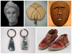 Clockwise from top left: 97-123-25, Statue (Attic), Syria, Baalbek / 97-120-493, Fan, Fiji Islands / 97-84-483, Mask (Inupiaq), Alaska, Cape Blossom / 97-84-2022, Earrings (Shoshone), Utah, Weber River / 97-84-1058, Moccasins (Sioux), South Dakota, White River. In 1997, over 20,000 objects previously on long-term loan from the Academy of Natural Sciences of Philadelphia since 1936 were donated to the Penn Museum. These objects were collected from across the globe. The largest lot (97-563) consists of over 11,000 objects from the Americas.