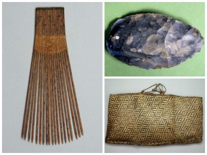 Clockwise from left: 87-41-5 Hair Comb, Tonga Islands / 87-39-966 Hand Axe, France / 87-41-3 Bag, Tahiti. Over 2,600 objects were on long-term loan from the American Philosophical Society (APS) for several decades before being donated the Penn Museum in 1987. The donation was split into five subgroups, based on the collectors that originally donated the objects to the APS.  Some of the original collectors include Benjamin Franklin Peale and Titian Peale, the sons of Charles Wilson Peale. Others include Joel Poinsett (namesake of the poinsettia flower) and William Keating, who collected while they were travelling in Mexico in the 1820s. Poinsett was the U.S. Ambassador to Mexico and Keating was a geologist from the University of Pennsylvania who prospected for American mining interests.