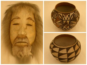 Clockwise from left: 2004-23-15, Spirit Mask made by Justus Mekiana (Nunamiut) / 2004-23-30, Pot (Acoma Pueblo), New Mexico / 2004-23-31, Pot (Acoma Pueblo), New Mexico. In 2004, Frederica De Laguna, Honorary Curator in the American Section, passed away at the age of 98. She was a renowned anthropologist of Alaska's Native peoples and led several expeditions to Alaska's Cook Inlet, Prince William Sound, and Yukon Valley for the Penn Museum's American Section in the 1930s. De Laguna bequeathed a collection of 68 North American objects, including Hopi katsina dolls (tithu), Tlingit carved wood bowls, and pottery from Acoma Pueblo.