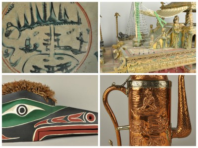 Clockwise from top left: Swatow bowl (2012-17-1), Model of Barge (2012-28-1), Teapot (2012-30-2), and Mask (2012-29-1)