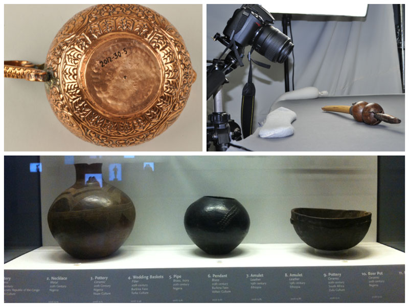 Upper left: the museum accession number on the base of an object.  Upper right: object photography. Bottom: the New Acquisitions display case.