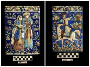 From left: 2001-15-41 / 2001-15-42, Tiles, Iran. A group of more than 50 objects, 70 photographs, and two maps were gifted to the Penn Museum in 2001 by William G. Warden and Sally M. W. Stone. The donors are the children of Nancy and Clarence Warden, Jr. Several decades prior, Nancy had taken a trip around the world, stopping in Iran to visit her sister-in-law, Mary Helen Warden, who was married to Penn Museum archaeologist, Erich Schmidt, who conducted fieldwork in Iran from 1931 to 1939 and was director of the Museum's excavations at Tepe Hissar and Rayy. The material in this donation is a mix of objects purchased by Nancy Warden, material given to her by Erich Schmidt, and photographs of her time spent in Iran.