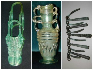 From left: 86-35-53 Saddleflask (Roman) / 86-35-87 Flask (Roman) / 99-21-3 Necklace (Etruscan), Italy. George Vaux III and Henry J. Vaux donated over 350 objects to the Penn Museum in 1986. An additional 20 objects, found in the Vaux family attic, were donated by Katharine Vaux McCauley (daughter of George Vaux III) and Mary James Vaux in 1999. The objects in these donations were collected by three generations of the Vaux family: William Samsom Vaux [1811–1882], George Vaux [funded an expedition to Egypt in 1901–02], and George Vaux, Jr. [collected Roman glass from 1905–15].