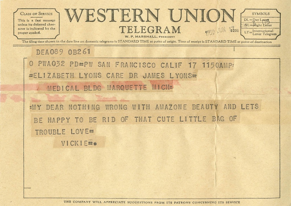 Telegraph from Vicki Baum to Lisa Lyons, June 1959