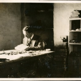 Father Legrain working on cuneiform tablets at the Ur Dighouse