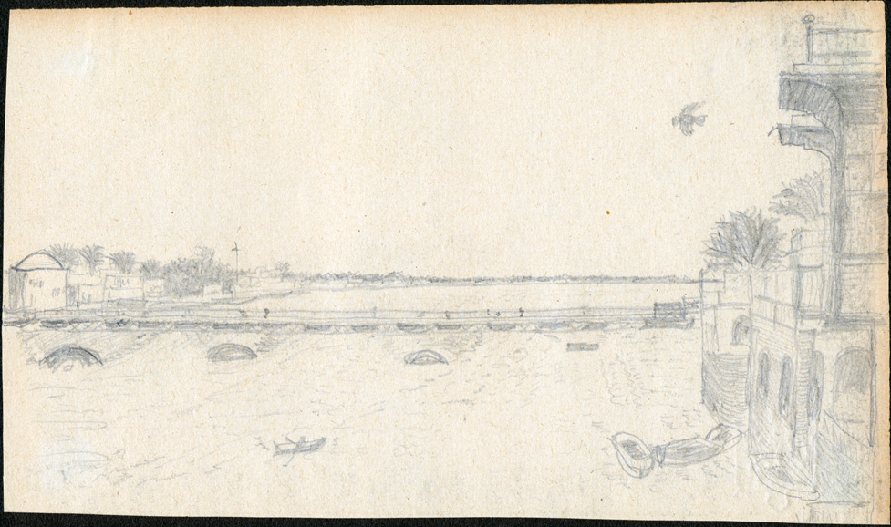 Drawing of Katah bridge in Baghdad, undated but almost certainly drawn after Samawa and before Sabkha