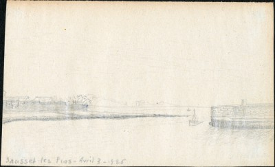 Drawing of Sausset les Pins, France, dated 3 April 1925