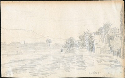 Drawing dated 13 April 1925, of Biskra, Algeria