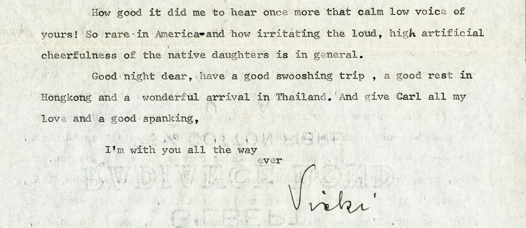 Letter from Vicki Baum to Lisa Lyons, May 1960