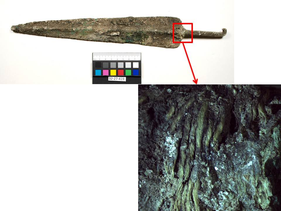 Dagger 23-27-419, and preserved thread at the base of the tang, magnified 10.6X.