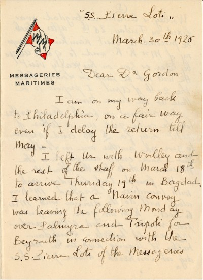 First page of Legrain letter to Gordon, 30 March 1926