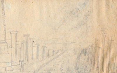 Legrain drawing, probably of Palmyra's colonnaded street.