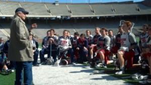 Oren Lyons spoke to the Penn men's lacrosse team and Coach Mike Murphy on Franklin Field.