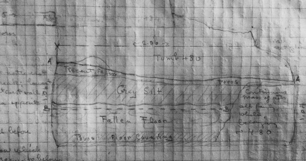 "Tomb 480 sketched in pencil. The area with the ""mass of pots"" is in the lower right corner."