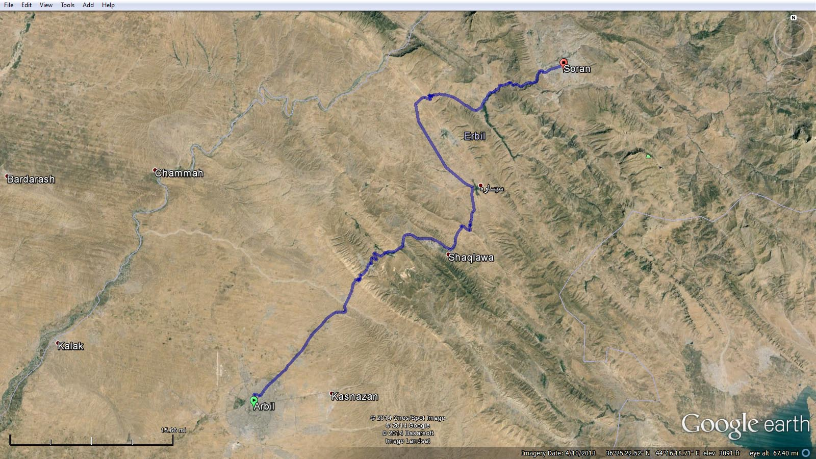 The route between Erbil and Soran