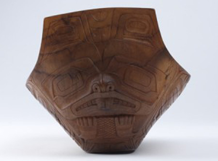 This Haida bowl depicts a finely carved beaver crest image.  Collection Object Number: NA4291