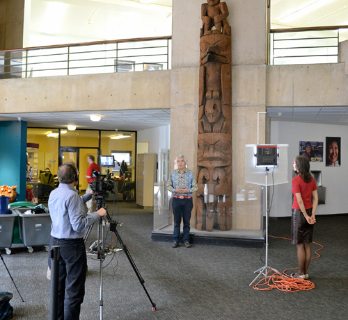 Davidson described the distinctive features of Penn Museum's 19th century pole carvings from Masset, British Columbia.  His recordings will be used to teach Haida students and to support Haida legal efforts to regain tribal lands.