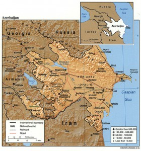 CIA FactBook Map of Azerbaijan (1995)