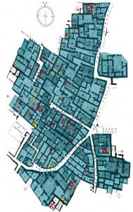 Burials in Domestic Area AH. Yellow dots represent infant burials.