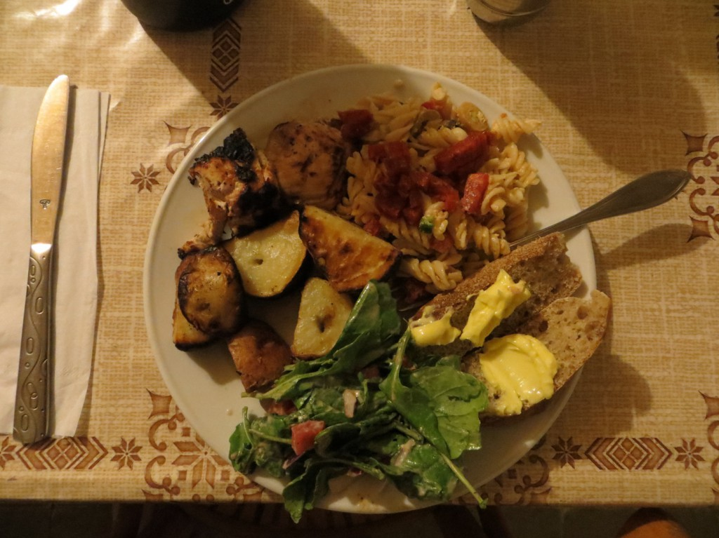 The final product: grilled chicken and vegetables, macaroni salad, green salad, and bread