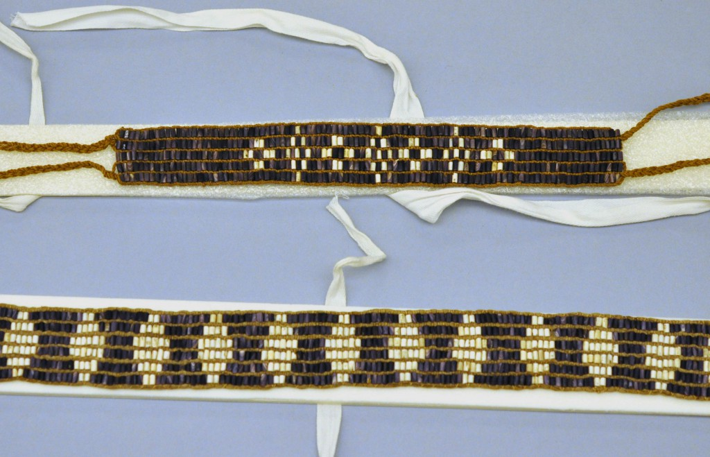 Cotton twill tape and polyethylene foam used to support and transport wampum at the Penn Museum. Top: NA3879; Bottom: NA3878. Photo by Stephanie Mach.