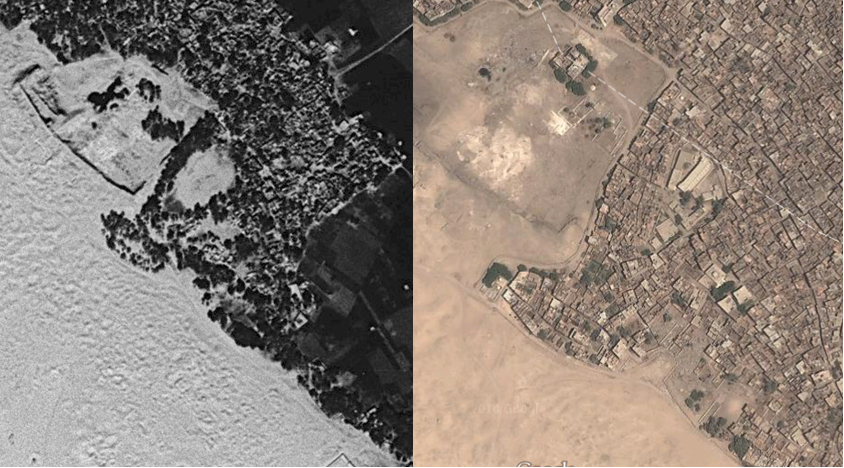 Corona Satellite image of the Malih in 1968 (left) and the modern housing covering, but showing the rough outline of the Malih from a 2014 Google Earth image (right)