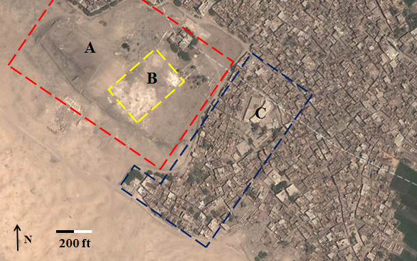 The area of the Kom es-Sultan (A) with the Osiris temple (B) and Malih (C) at Abydos. Photo from Google Earth